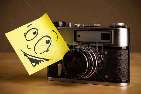 Jegyzet mosolygós arc fotó kamera rajzolt papír Stock fotó © ra2studio