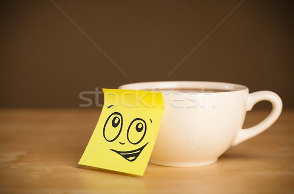 Jegyzet mosolygós arc csésze rajzolt papír arc Stock fotó © ra2studio