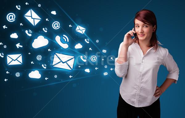 Fiatal hölgy készít telefonbeszélgetés üzenet ikonok Stock fotó © ra2studio