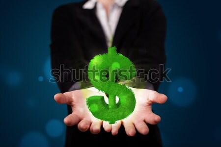 зеленый знак доллара молодые Сток-фото © ra2studio