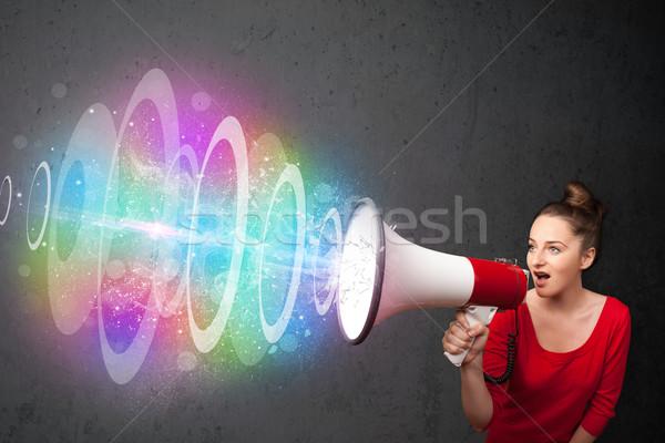 Jeune fille haut-parleur coloré énergie poutre cute Photo stock © ra2studio