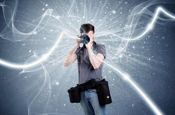 Professional photographer with dynamic lines Stock photo © ra2studio
