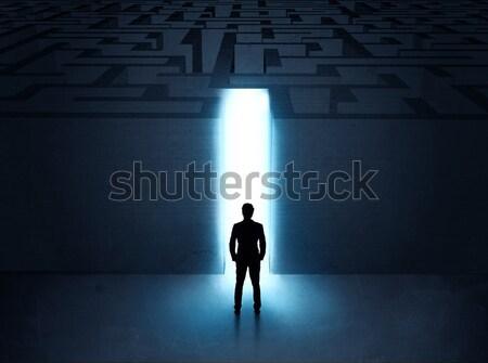 Patrząc ściany świetle tunelu otwarcie Zdjęcia stock © ra2studio