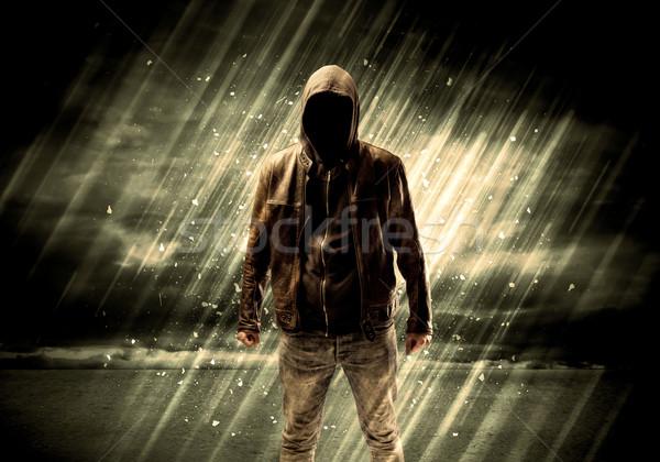 犯罪者 立って たばこ 雨 ストックフォト © ra2studio