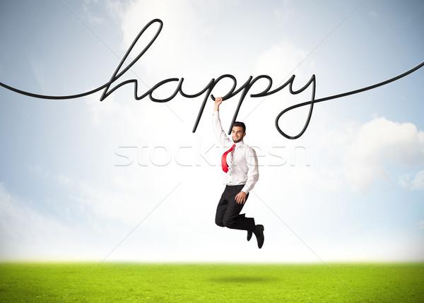 Suspendu affaires heureux corde main espace Photo stock © ra2studio