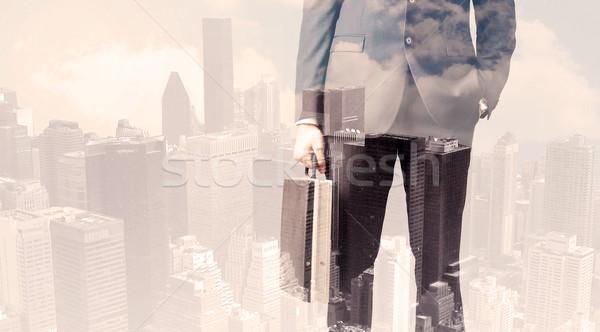 ハンサム ビジネスマン 景観 建物 男 市 ストックフォト © ra2studio