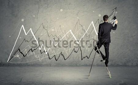 человека лестнице рисунок линия мужчины элегантный Сток-фото © ra2studio