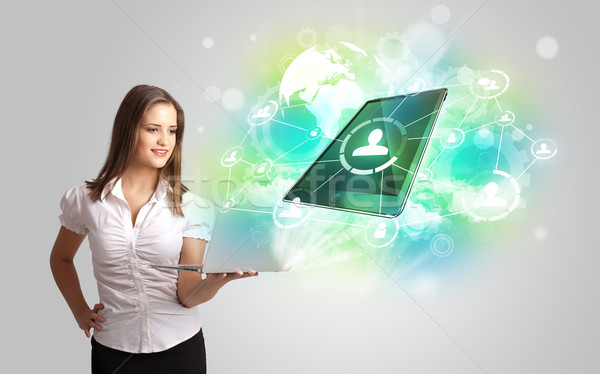 Stock photo: Business girl showing modern tablet technology concept