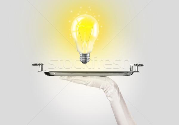 Intelligente idea lampadina vassoio luminoso Foto d'archivio © ra2studio