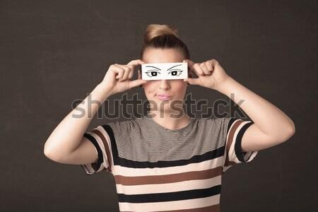 Dom jongeling naar oog papier Stockfoto © ra2studio