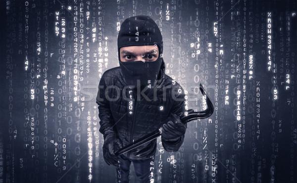 Hırsız eylem araçları el adam arka plan Stok fotoğraf © ra2studio