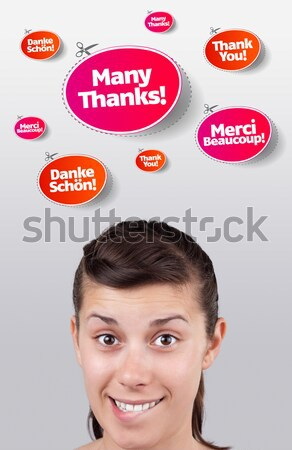 Young persons head looking at closed and open signs Stock photo © ra2studio