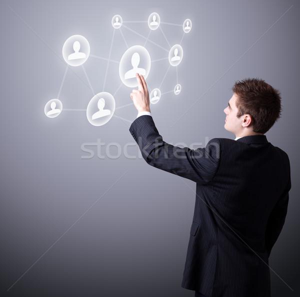 ビジネスマン デジタル 社会的ネットワーク アイコン 小さな ストックフォト © ra2studio