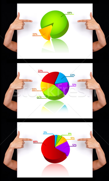 hand pointing to dimensional chart collection Stock photo © ra2studio