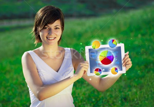 Jovem mulher de negócios olhando moderno comprimido abstrato Foto stock © ra2studio