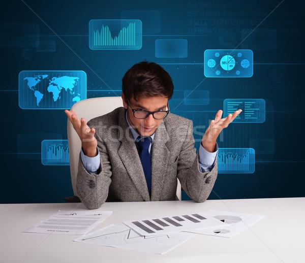 ビジネスマン 書類 デジタル 未来的な オフィス 紙 ストックフォト © ra2studio