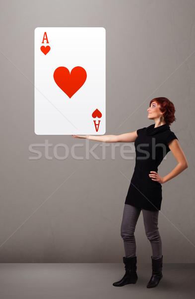 Mulher vermelho coração ás mulher jovem Foto stock © ra2studio