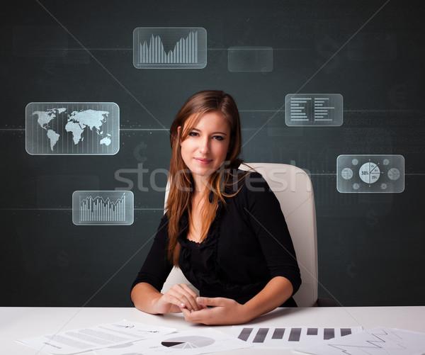 女性実業家 書類 デジタル 未来的な ビジネス 紙 ストックフォト © ra2studio