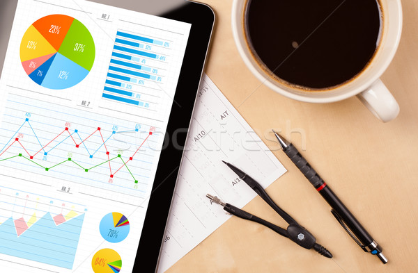 Tablet pc shows charts on screen with a cup of coffee on a desk Stock photo © ra2studio