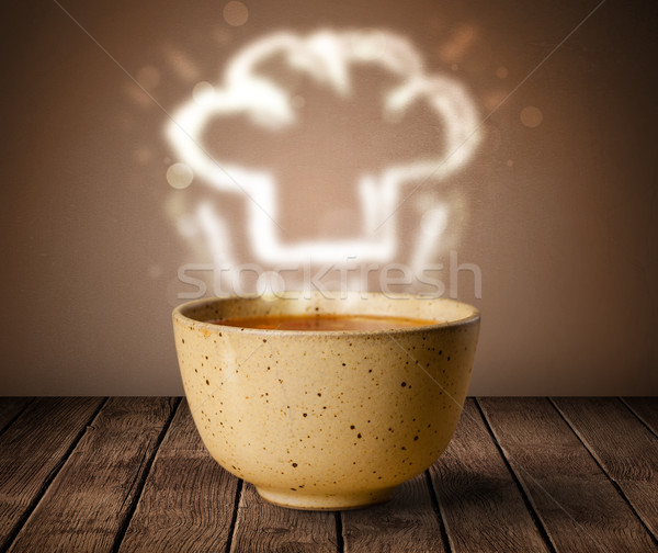 Ciotola zuppa chef cuoco Hat vapore Foto d'archivio © ra2studio