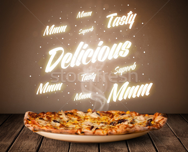 Stock photo: Pizza with delicious and tasty glowing writings
