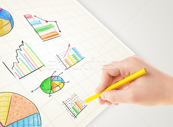 Rysunek kolorowy wykresy ikona papieru Zdjęcia stock © ra2studio