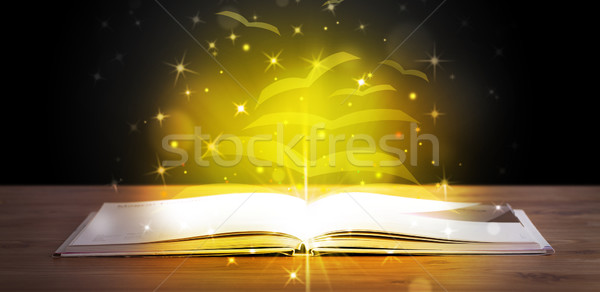 Livre ouvert or lueur battant papier Photo stock © ra2studio