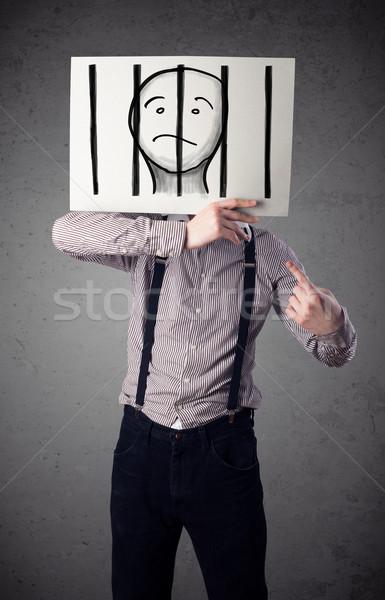 Empresário papel prisioneiro atrás barras Foto stock © ra2studio