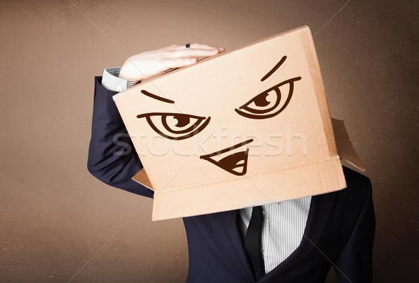 Zakenman hoofd kwaad permanente Stockfoto © ra2studio