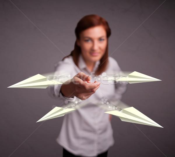 Güzel bayan origami genç Stok fotoğraf © ra2studio