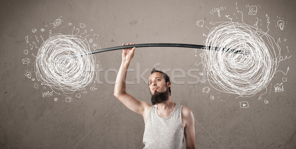 skinny guy defeating chaos situation Stock photo © ra2studio