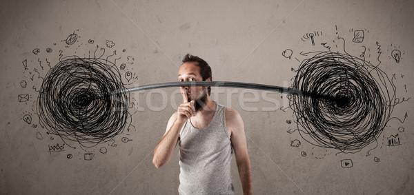 Sovány fickó káosz helyzet vicces kéz Stock fotó © ra2studio