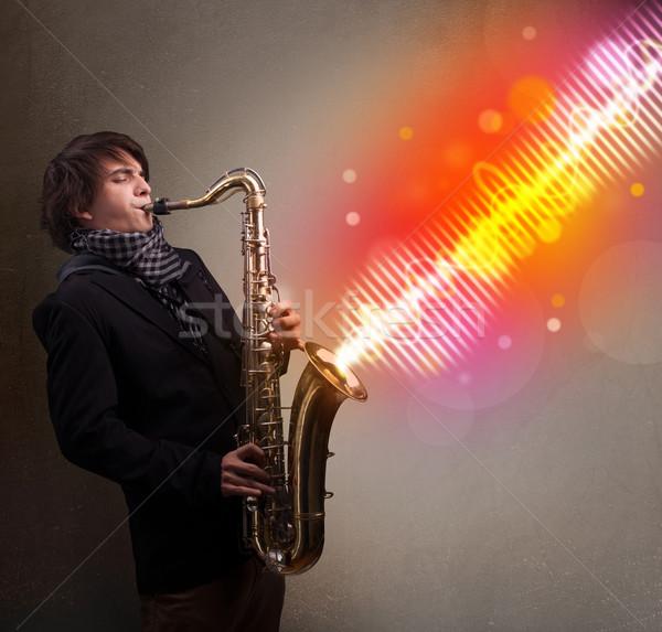 若い男 演奏 サクソフォン カラフル サウンド 波 ストックフォト © ra2studio