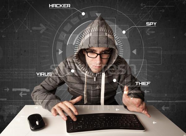 Jungen Hacker futuristisch Hacking persönlichen Informationen Stock foto © ra2studio