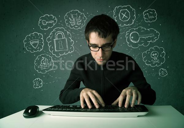 Jungen nerd Hacker Virus Hacking Gedanken Stock foto © ra2studio
