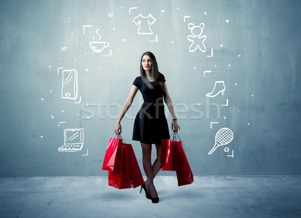 Vásárlás női szatyrok rajzolt ikonok gyönyörű Stock fotó © ra2studio