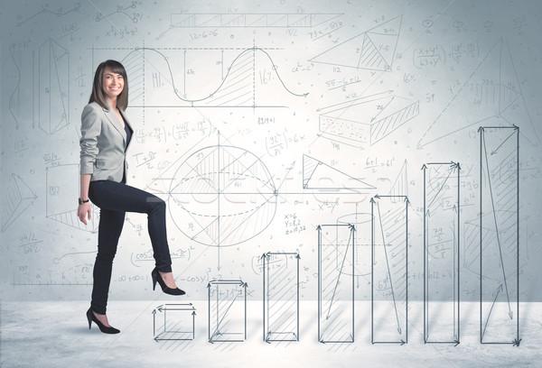 Stock fotó: üzletasszony · mászik · felfelé · kézzel · rajzolt · grafikonok · üzlet