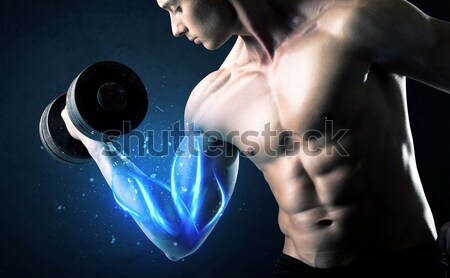 Musculação peso enérgico branco linhas Foto stock © ra2studio