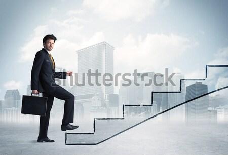 Energiek zakenman springen brug kloof man Stockfoto © ra2studio
