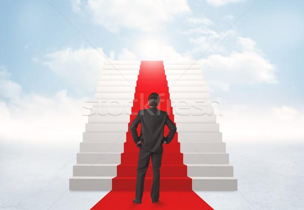 Bakıyor merdiven cennet işadamı gökyüzü adam Stok fotoğraf © ra2studio