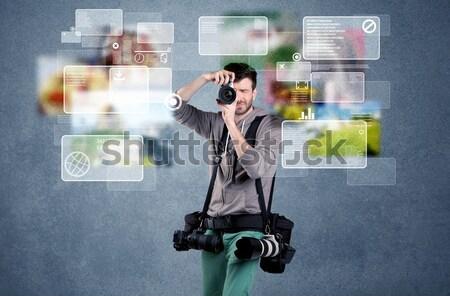 Knap fotograaf camera jonge professionele mannelijke Stockfoto © ra2studio