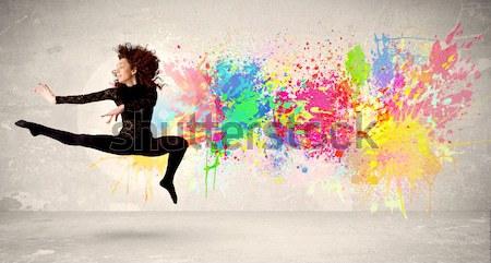 Bela mulher saltando colorido menina Foto stock © ra2studio