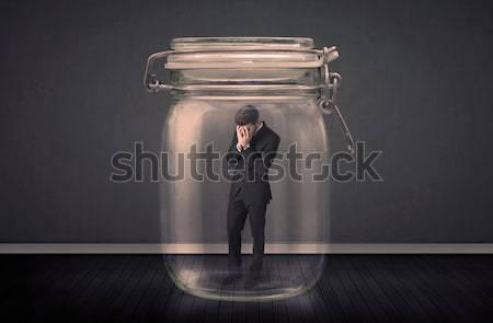 Biznesmen uwięzione szkła jar przestrzeni chłopca Zdjęcia stock © ra2studio