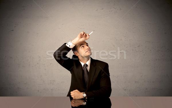 элегантный человек рисунок счастливым бизнесмен Сток-фото © ra2studio