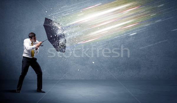 деловой человек свет зонтик бизнеса воды стены Сток-фото © ra2studio