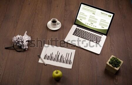 Bilgisayar dizüstü bilgisayar büro ofis ahşap Stok fotoğraf © ra2studio