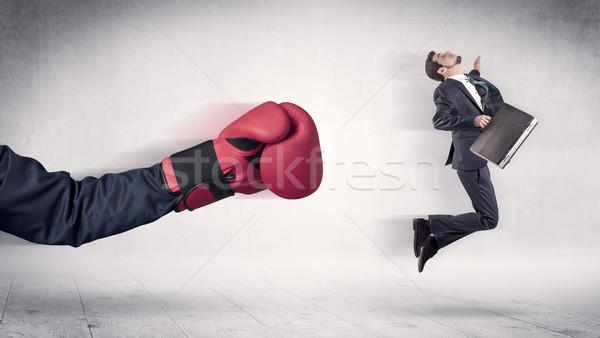 огромный боксерские перчатки бизнесмен невинный человека окна Сток-фото © ra2studio