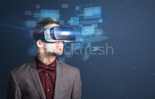 Empresário virtual realidade óculos de proteção maravilhado dados Foto stock © ra2studio