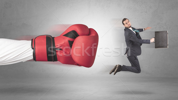 бизнесмен гигант стороны боксерские перчатки бизнеса человека Сток-фото © ra2studio