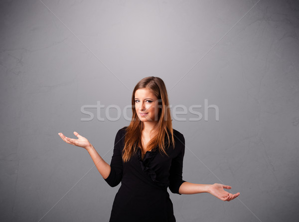 beautiful young lady juggling with copy space Stock photo © ra2studio